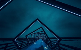 미리보기 배경 화면 크리 에이 티브 브리지, 아키텍처, 백라이트, 밤