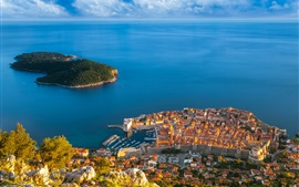 Preview wallpaper Croatia, Dubrovnik, sea, island, houses, buildings