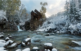 Preview wallpaper Crystal Mill, snow, river, trees