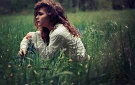 Preview wallpaper Curly hair girl sit in grass