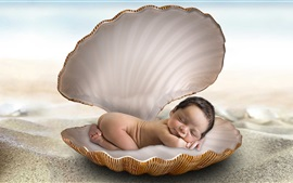 Preview wallpaper Cute baby sleep in shell