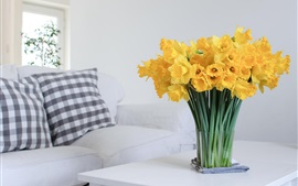 Preview wallpaper Daffodils, yellow flowers, home, table, sofa