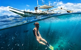 Preview wallpaper Diving girl, underwater, boat, sea