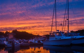 Preview wallpaper Dock, yachts, boats, sunset