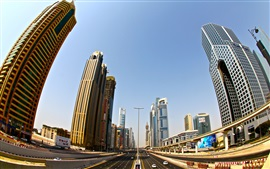 Preview wallpaper Dubai, skyscrapers, road, city, buildings