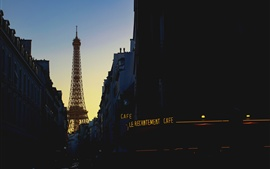 Eiffel Tower, street, houses, evening, Paris, France