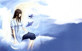 Preview wallpaper Fantasy angel girl, sky, clouds, birds