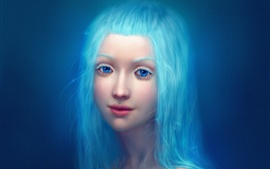 Preview wallpaper Fantasy girl, blue hair and eyes, eyebrows