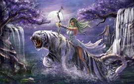 Fantaisie fille, cheveux verts, elfe, arc, tigre blanc, dessin artistique