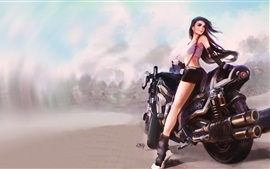 Preview wallpaper Fantasy girl, motorcycle, art drawing