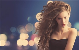 Preview wallpaper Fashion girl, curly hair, face, glare