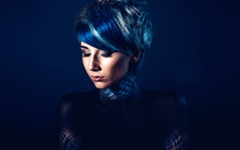 Preview wallpaper Fashion girl, makeup, dark blue background