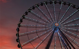 Ferris wheel, night, lights
