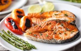 Aperçu fond d'écran Tranche de poisson, poivre, nourriture