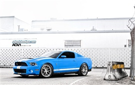 Preview wallpaper Ford Mustang Shelby GT500 blue supercar side view