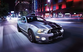 Preview wallpaper Ford Mustang Shelby GT500 supercar, speed, road, city