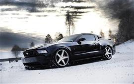 Ford Mustang vista lateral do carro preto, neve, inverno