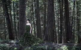 Preview wallpaper Forest girl, twigs skirt