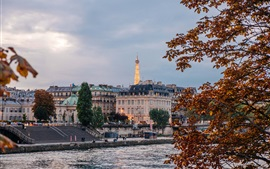 Франция, Париж, река, набережная, город, река, здания, деревья, сумерки