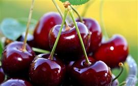 Fotografia macro de cereja fresca, fruta deliciosa