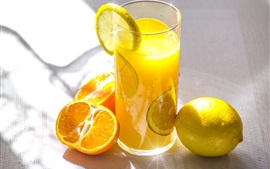 Preview wallpaper Fruit drinks, oranges, lemon, glass cup