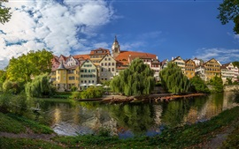 Preview wallpaper Germany, Baden-Wurttemberg, river, boats, trees, houses