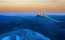 Preview wallpaper Germany, Hohenzollern castle, mountains, trees, snow, winter