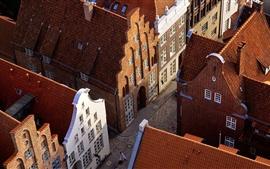 Alemanha, Lubeck, telhado, rua, casas, cidade