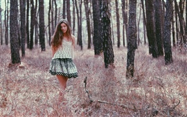 Preview wallpaper Girl walk in forest