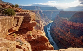 Grand Canyon, Estados Unidos, río, rocas, valle, sol