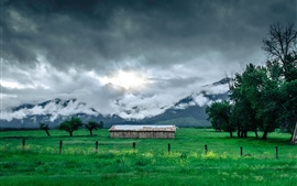 Preview wallpaper Grass, field, hut, mountains, trees, clouds, fog