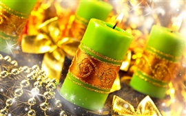 Preview wallpaper Green candles, flame, fire, gold style, Christmas decoration