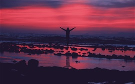 Guy jump, sunset, evening, water, shore