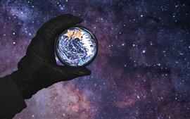 미리보기 배경 화면 손, 행성, 공간, 창조적 인 그림