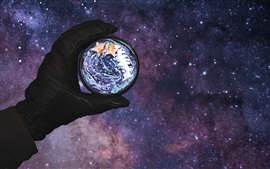 Mano, planeta, espacio, imagen creativa