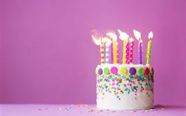 壁紙のプレビュー ハッピーバースデーケーキ、キャンドル、炎