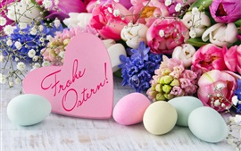 Happy Easter, eggs, flowers, love heart, decoration