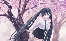 Happy anime girl, long hair, sakura, spring