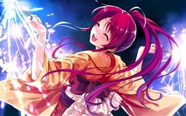 Preview wallpaper Happy anime girl, red hair, kimono, fireworks, sparks