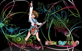 Preview wallpaper Happy anime girl, rock, music