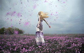 Preview wallpaper Happy blonde girl, dance, flowers, petals flying