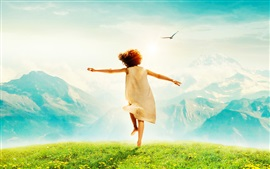 Preview wallpaper Happy child, back view, grass, mountains, birds, glare