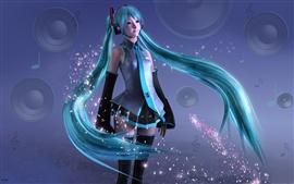 Hatsune Miku, doce menina de anime, cabelo azul, 3D