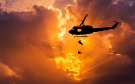 Preview wallpaper Helicopter flight, dawn, silhouette, soldiers, landing