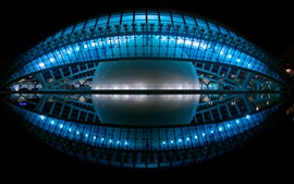 Hemispheric, Valencia, Spain, night, lights, cinema, planetarium, water reflection