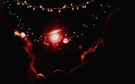 Luzes de férias, brilho, noite