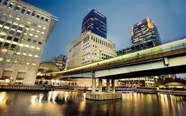 Гонконг, небоскребы, река, мост, огни, городская ночь