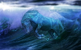 Preview wallpaper Horse running in water, creative design