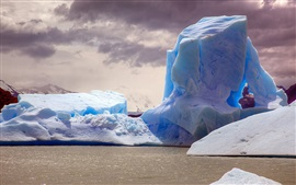 Preview wallpaper Iceberg, sea, dusk