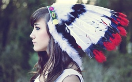Preview wallpaper Indian girl, headdress, feathers